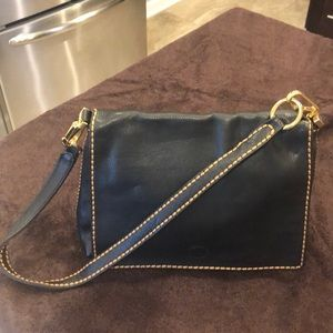 Black Leather Plinio Visona shoulder bag